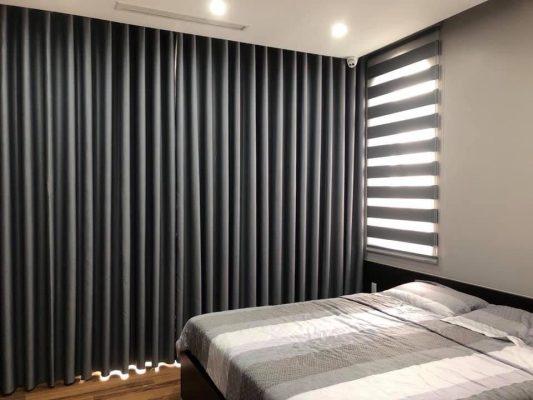 rèm vải hai lớp màu ghi đậm siêu đẹp cho phòng ngủ
